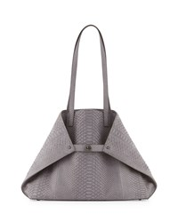 Akris Ai Suede Python Shoulder Bag Dark Gray