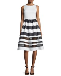 Alice Olivia Sleeveless Larue Striped Combo Dress Black White Size 4