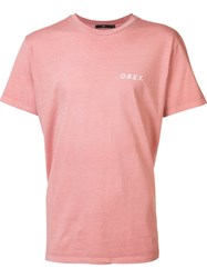 Obey Logo Print T Shirt Red