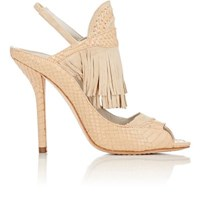 Alice Olivia And Women's Nadya Leather And Suede Slingback Sandals Nude