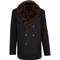 River Island Mens Grey Faux Fur Collar Pea Coat