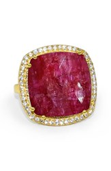 Susan Hanover Women's Designs Semiprecious Stone Ring Fuchsia Gold