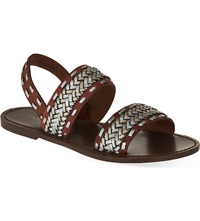 Maje Braided Leather Sandals Camel