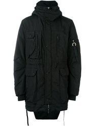 Marcelo Burlon County Of Milan Fishtail Hem Hooded Parka Black