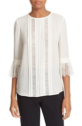 Kate Spade Women's New York Lace Inset Silk Top