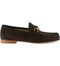 Gucci Roos Suede Loafers Dark Brown