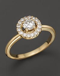 Bloomingdale's Diamond Halo Ring In 14K Yellow Gold .55 Ct. T.W. Yellow Gold White Diamonds