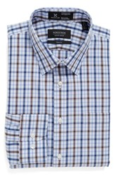 Nordstrom Men's Men's Shop Smartcare Trim Fit Plaid Dress Shirt Brown Bag