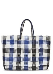 Truss Large Checked Woven Tote Navy