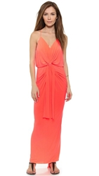 Tbags Los Angeles Maxi Dress With Knot Detail Neon Coral