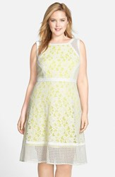 Plus Size Women's Julia Jordan Bateau Neck Lace And Eyelet Fit And Flare Dress