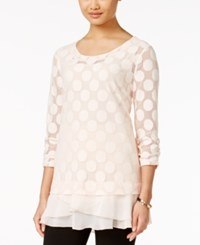 Styleandco. Style And Co. Polka Dot Lace Tunic Only At Macy's Pink Bliss