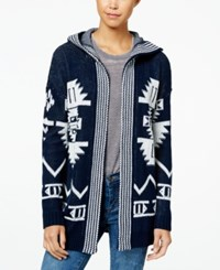 Hippie Rose Juniors' Hooded Aztec Cardigan Twilight Blue Ivory Combo