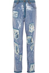 Ashish Sequined Distressed High Rise Boyfriend Jeans Blue