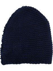 Isabel Benenato Ribbed Knit Hat Blue
