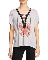 Vintage Havana Lace Up Graphic Tee Heather Grey