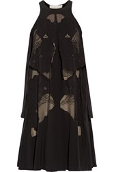 Stella Mccartney Valerie Embroidered Lace Paneled Silk Crepe De Chine Mini Dress Black