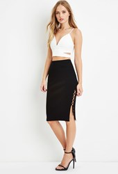 Forever 21 Lace Up Side Bodycon Skirt Black