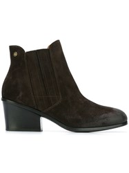 Buttero Chunky Heel Ankle Boots Brown