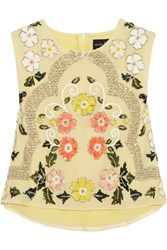 Needle And Thread Locket Embellished Chiffon Top Yellow