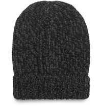 Dolce And Gabbana Ribbed Melange Cashmere Beanie Charcoal