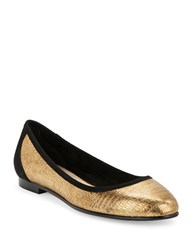 Via Spiga Demetria Leather And Suede Ballet Flats Gold