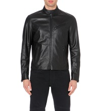 Ralph Lauren Black Label Altitude Cafe Leather Jacket Black