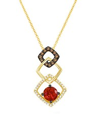 Le Vian Neon Tangerine Fire Opal Vanilla And Chocolate Diamond 14K Strawberry Gold Necklace Red