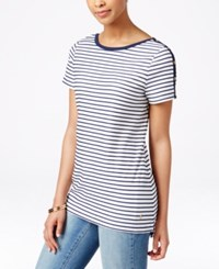 Charter Club Button Detail Textured Stripe Tee Only At Macy's Intrepid Blue