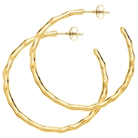 Dower And Hall Ripple Hoop Earrings Gold