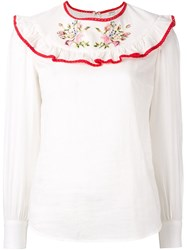 Manoush Ruffle Front Blouse White