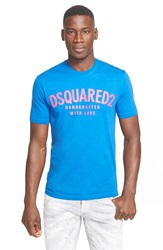 Dsquared 'Handcrafted With Love' Graphic T Shirt Blue