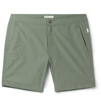 Onia Calder Long Length Swim Shorts Army Green