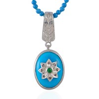 Emma Chapman Jewels Byzantine Star Turquoise Diamond And Tsavorite Pendant Blue