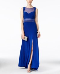 Nightway Sleeveless Illusion Mesh Fit And Flare Gown Royal Blue