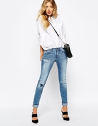 Boss Orange Skinny Jeans With Distressed Detail Lightblue