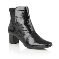 Lotus Swallow Animal Print Ankle Boots Black