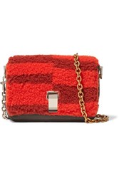 Proenza Schouler Courier Extra Small Shearling And Leather Shoulder Bag Brick