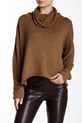 Planet Cowl Neck Boucle Knit Sweater Brown