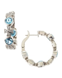 Elizabeth Showers Swiss Blue Topaz And Sapphire Cross Hoop Earrings