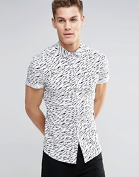 Asos Skinny Shirt In Monochrome Tiger Print With Short Sleeves White