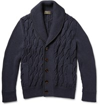 Berluti Nubuck Trimmed Cotton And Cashmere Blend Cardigan Navy