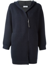Brunello Cucinelli Zipped Hooded Cardi Coat Blue