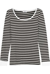 Frame Striped Stretch Cotton Blend Top Black