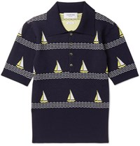 Thom Browne Boat Patterned Knitted Wool Blend Polo Shirt Navy