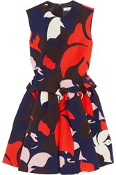 Delpozo Printed Cotton Peplum Dress Navy Red