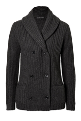 Ralph Lauren Black Label Heavy Knit Cashmere Cardigan With Leather Elbow Patches