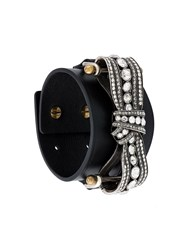 Lanvin Bow Embellished Detail Bracelet Black