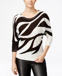 Xoxo Juniors' Zebra Print Dolman Sleeve Sweater Ivory Black
