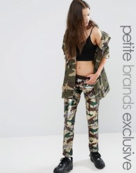 Liquor And Poker Petite All Over Sequin Legging Camo Green